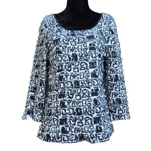 Layered Frilly Black & White Long Sleeve Top M
